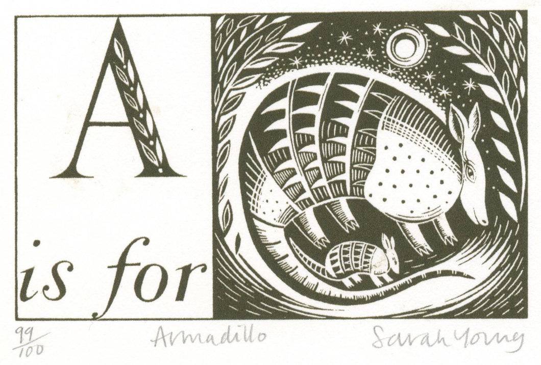 A is for Armadillo - Alphabet Silkscreen Print