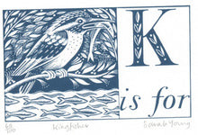 Load image into Gallery viewer, K is for Kingfisher - Alphabet Silkscreen Print