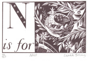 N is for Nest - Alphabet Silkscreen Print