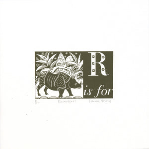 R is for Rhinoceros - Alphabet Silkscreen Print