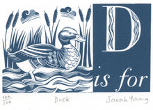 Load image into Gallery viewer, D is for Duck - Alphabet Silkscreen Print