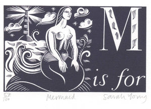 M is for Mermaid- Alphabet Silkscreen Print