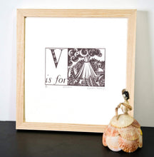 Load image into Gallery viewer, V is for Volcano - Alphabet Silkscreen Print