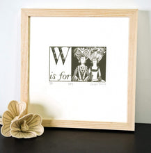 Load image into Gallery viewer, W is for Wig - Alphabet Silkscreen Print