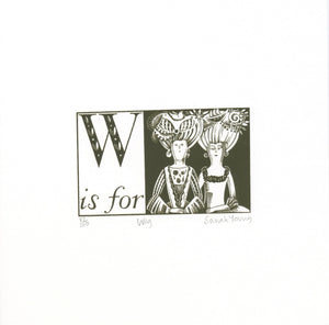 W is for Wig - Alphabet Silkscreen Print