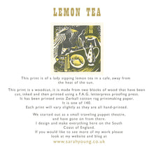 Load image into Gallery viewer, Lemon Tea - Woodcut Print