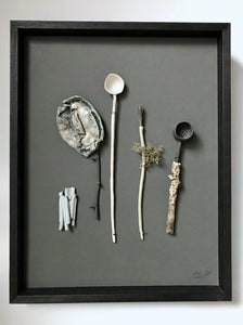 'Woodland utensils' Mixed media wall assemblage