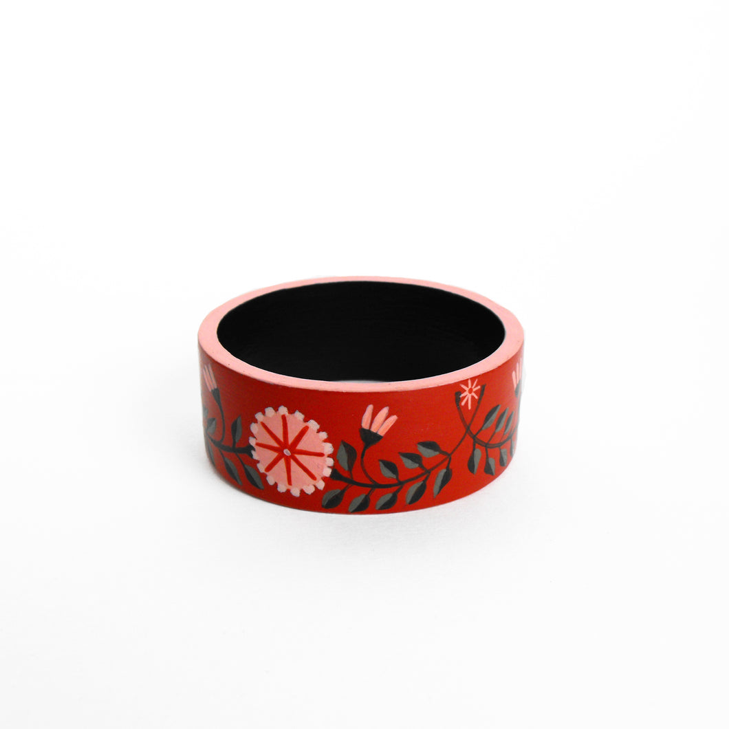 Red Floral Bangle