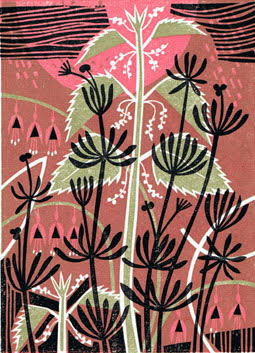 Nettles and Cleavers print by Clare Curtis