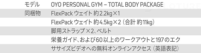 OYO PERSONAL GYM – TOTAL BODY PACKAGE JAPAN EDITION FlexPack ウェイト 約2.2kg×1 FlexPack ウェイト 約4.5kg×2(合計 約11kg) 脚用ストラップ×2、ベルト 栄養ガイド、および60以上のワークアウトと197のエクササイズ ビデオへの無料オンラインアクセス(英語表記)