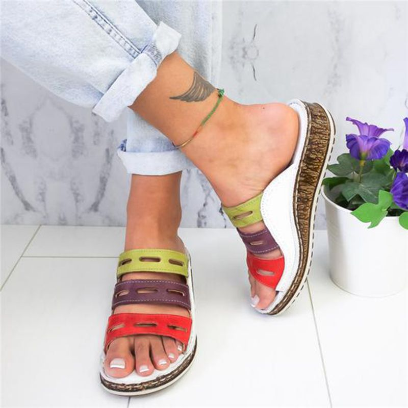 AUTHENTIC Women Chic Three-color Stitching Sandals [Clearance SALE: Pay 2 Get 3]