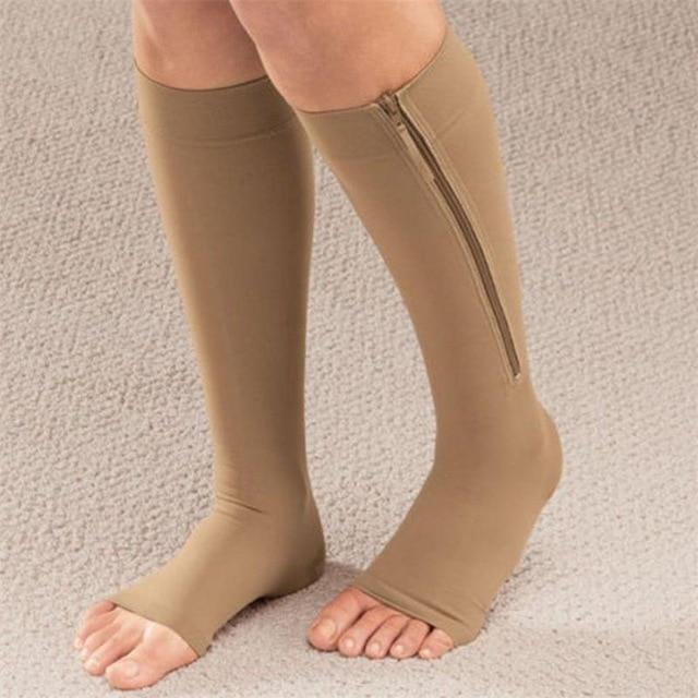 Zipped Open Toe Compression Socks