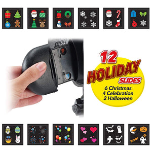 Slide Show Shower includes 12 Full Color Slides For Laser Night Projector for Christmas Halloween Seasonal Gift