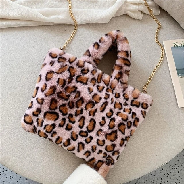 🔥2020 New Arrival🔥 Premium Faux Fur Animal Print Tote Bag, Women's Fashion Leopard Bag [Limited time offer: Buy 2 Save More 15%]