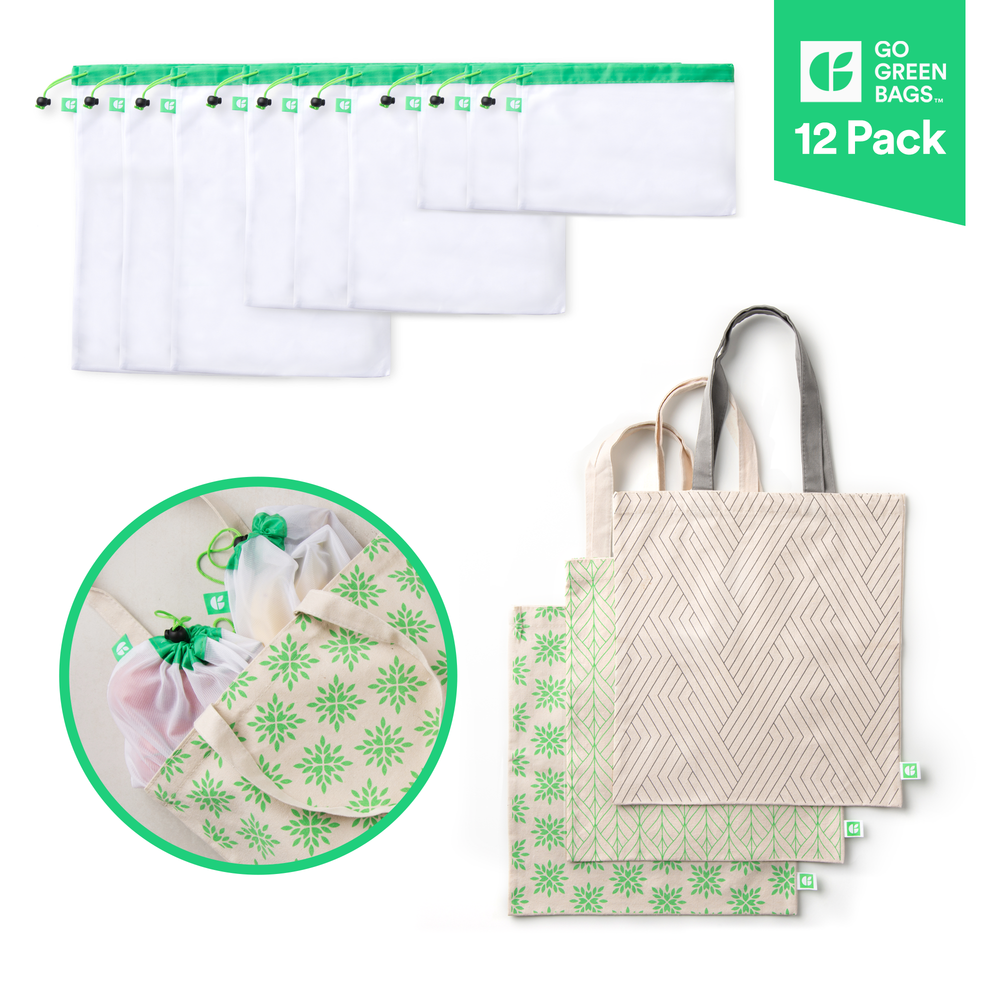 GoGreenBags 12 Pack Reusable Bags: Organic Cotton Totes | Mesh Produce Bags