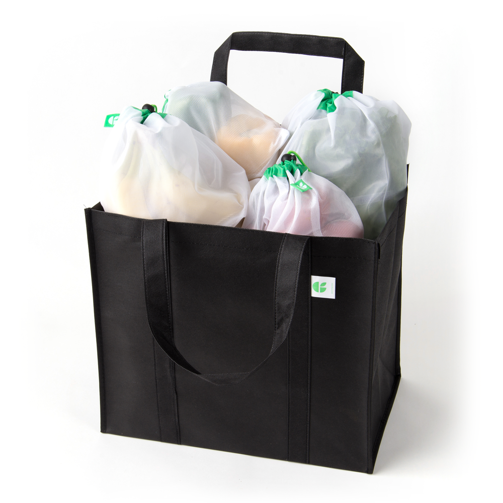 GoGreenBags 14 Pack Reusable Bags: Mesh Produce Bags | Heavy-Duty Shopping Totes