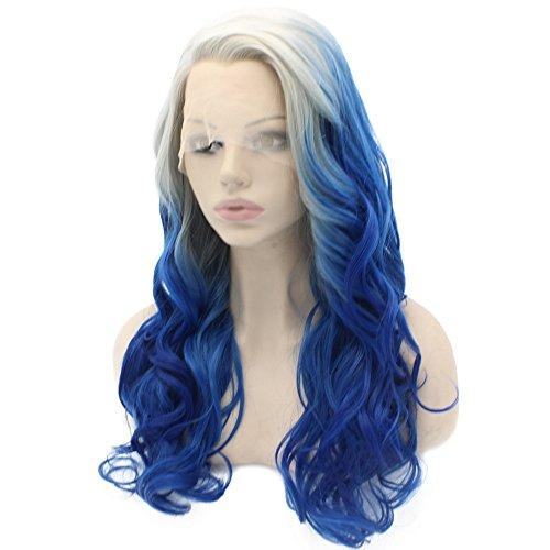 Atlanta Long Wavy Ombre Gray Blue Two Tone Synthetic Hair Lace Front Wig