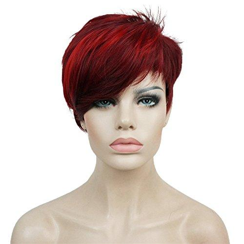 Red Aimole Synthetic Short 6 Inches Red/Drakest Brown Straight Wig