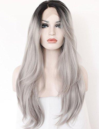 Slives  Ombre Gray 2 Tones Synthetic Lace Front Wig