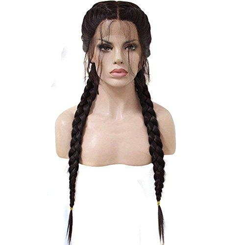 KIM KIM  Hair Cap+Long Double Braids 2# Natural Black Synthetic Braided Lace Front t Wig