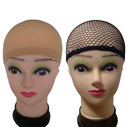 3 Pack Wig Caps (Neutral Nude Beige and Black Mesh)