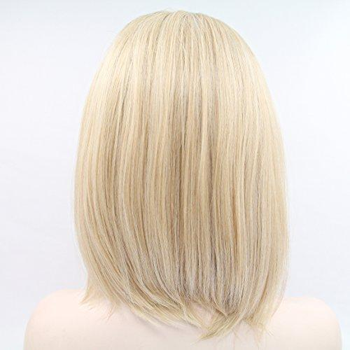 Allie Ombre Blonde Dark Brown Roots Glueless Short Bob Lace Front Wig