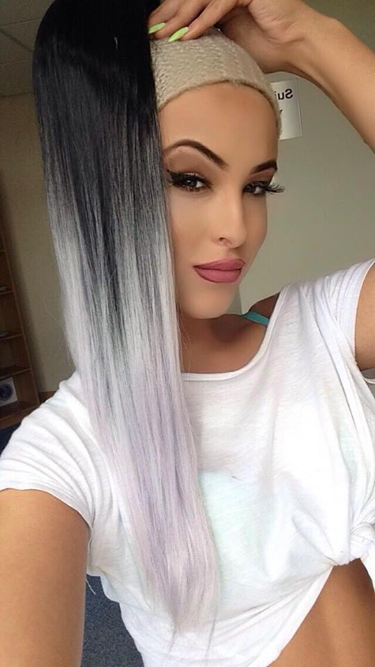 Black to grey ombre ponytail - Pdollpalace