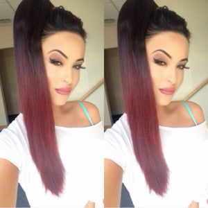 Black to Burgundy Ponytail - Pdollpalace
