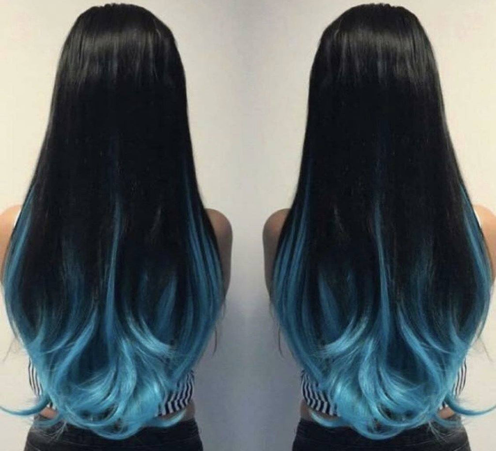 One piece clip in extension Atlantic blue