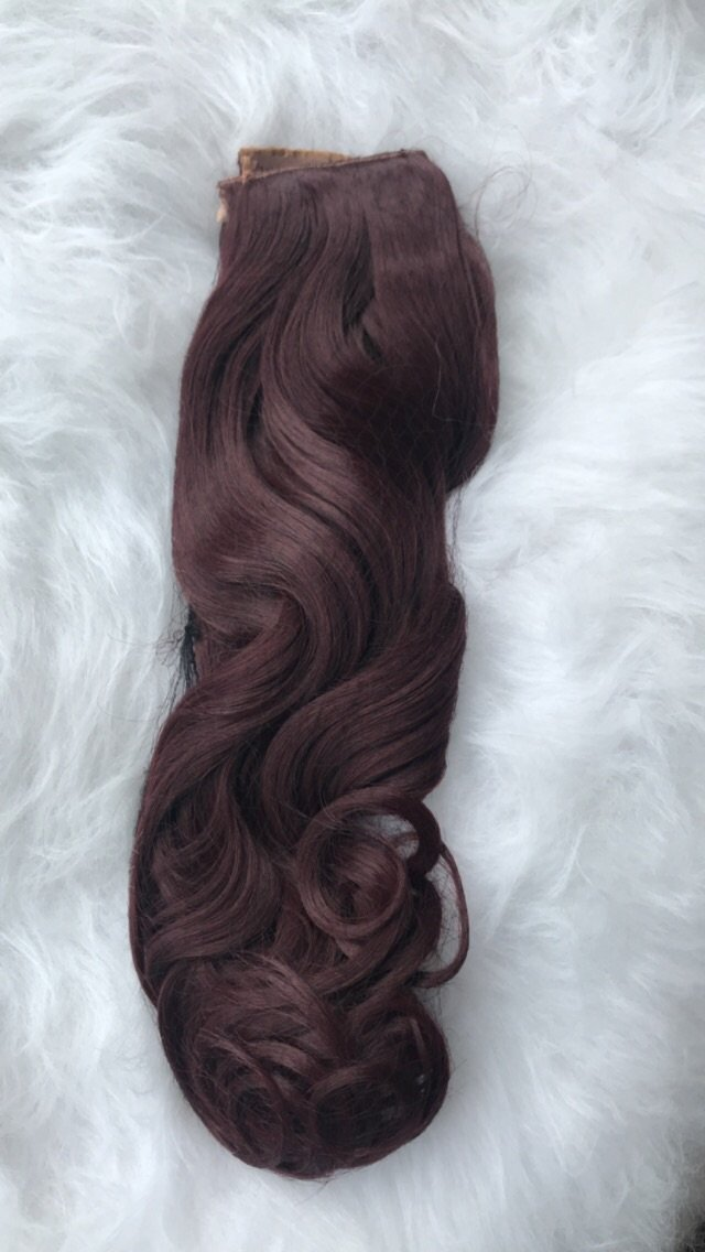 3 piece clip in extensions curly in dark burgundy