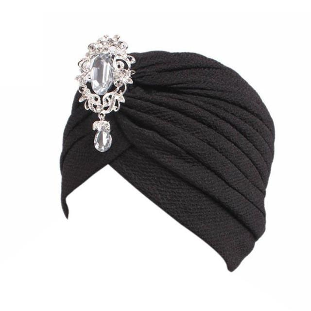 New Arrival Women Hat Beanie Casual Soft Cotton Winter Caps Shine Crystal Decoration Popular Hats