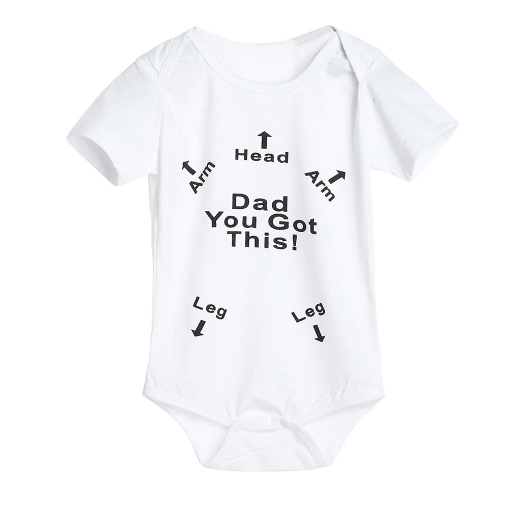 Newborn Infant Baby Boys Girls Letter Print Romper