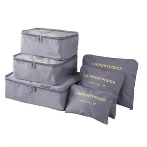 6pcs Travel Packing Bag Space Saver Bags Cubes System Durable Travel Luggage Packing Organizers Clothes Storage Bag with Laundry Bag