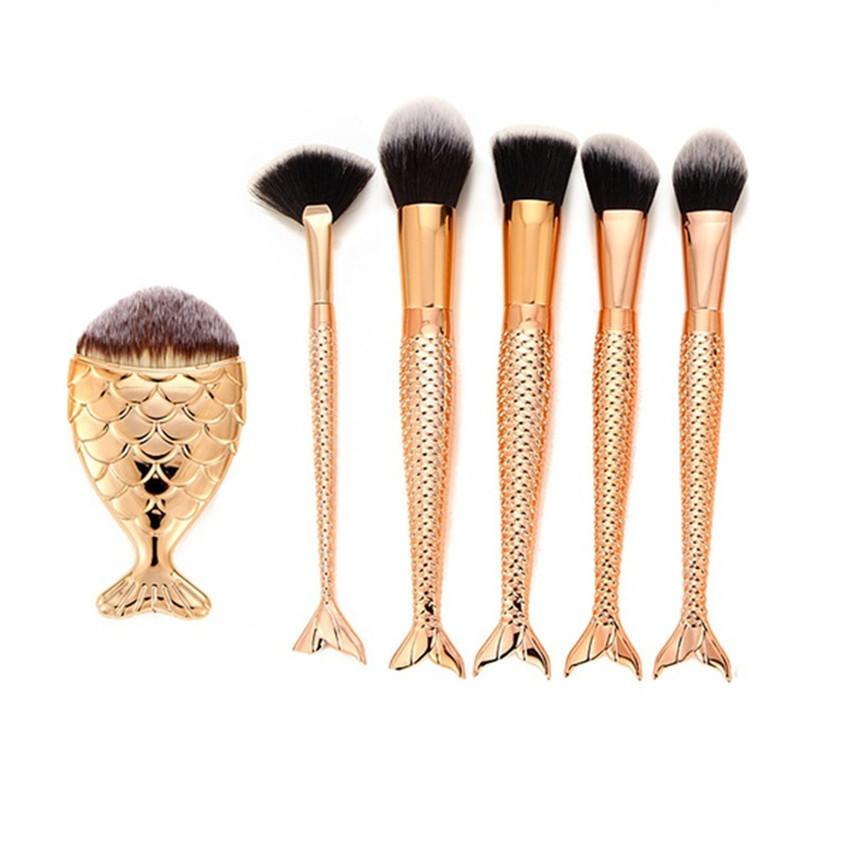 6PCS Make Up Foundation Eyebrow Eyeliner Blush Cosmetic Concealer Brushes