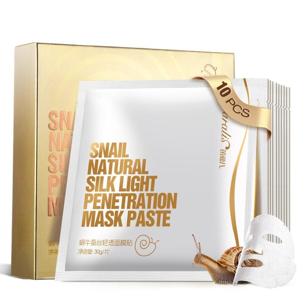 10 Pieces/Set Snail Collagen Protein Facial Mask Cleaning Mask Moisturizing Firming Water Replenishment Skin Care Mask