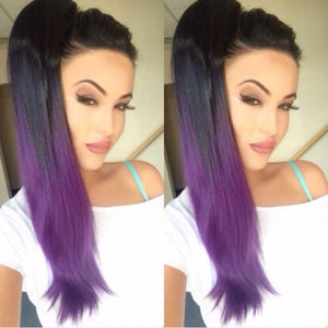 Black to purple ponytail - Pdollpalace