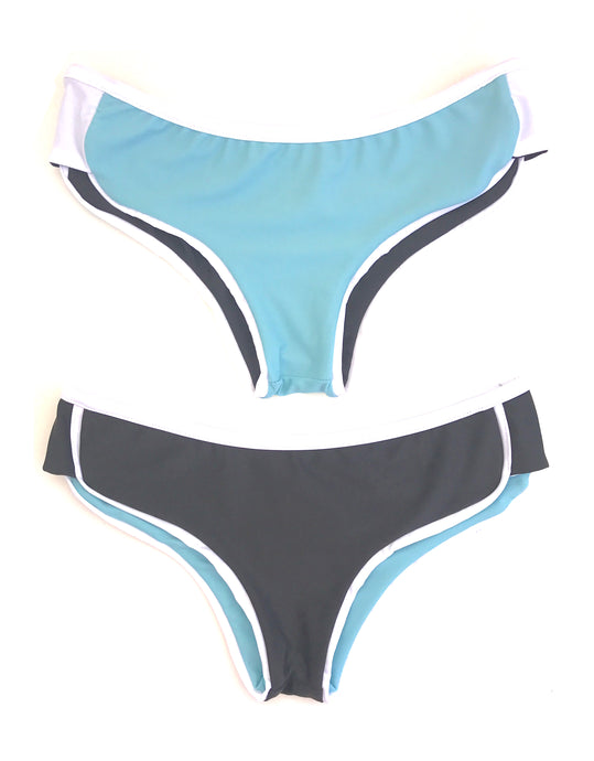 The Kelly Bottom in Charcoal and Aqua