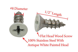 Painted White Coated Stainless Flat Head Phillips Wood Screw, Choose Size/Length, 18-8 (304) Stainless Steel Screw By Bolt Dropper - Choose Size & QTY