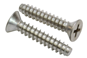 Stainless Flat Head Phillips Wood Screw, Type B Point, 18-8 (304) Stainless Steel Screw - Choose Size & QTY