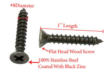 Load image into Gallery viewer, Zinc Black Coated Stainless Flat Head Phillips Wood Screw, 18-8 (304) Stainless Steel Screw By Bolt Dropper - Choose Size & QTY