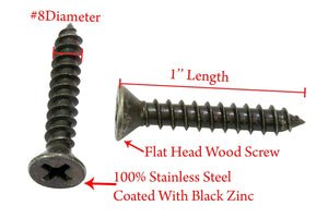 Zinc Black Coated Stainless Flat Head Phillips Wood Screw, 18-8 (304) Stainless Steel Screw By Bolt Dropper - Choose Size & QTY