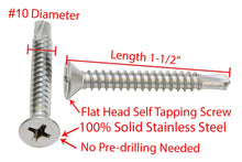 Load image into Gallery viewer, Stainless Flat Head Phillips Self Drilling Wood Screw, 18-8 (304) Stainless Steel Screw - Choose Size & QTY