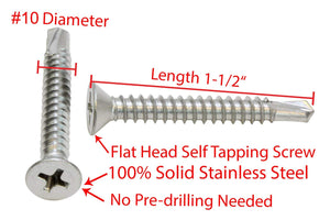 Stainless Flat Head Phillips Self Drilling Wood Screw, 18-8 (304) Stainless Steel Screw - Choose Size & QTY