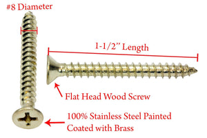 Brass Coated Stainless Flat Head Phillips Wood Screw, 18-8 (304) Stainless Steel Screw By Bolt Dropper - Choose Size & QTY