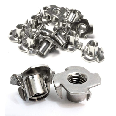 T-Nut Stainless Steel, Choose Size/Quantity, Pronged Tee Nut. For Wood, Rock Climbing Holds,