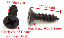 Load image into Gallery viewer, Black Oxide Coated Stainless Flat Head Phillips Wood Screw, 18-8 (304) Stainless Steel Screw By Bolt Dropper - Choose Size/Length & QTY