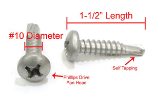 Phillips Pan Head Self-Tapping Sheet Metal Screws, 410 Stainless Steel, Choose Size & QTY