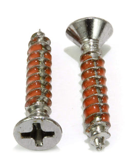Chrome Coated Stainless Flat Head Phillips Wood Screw, With Epoxy Lock Threads, 18-8 (304) Stainless Steel Screw By Bolt Dropper - Choose Size & QTY