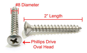 Stainless Oval Head Phillips Wood Screw, 18-8 (304) Stainless Steel Screws Choose Size & QTY