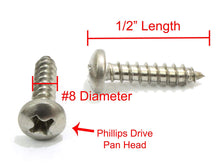 Load image into Gallery viewer, Stainless Pan Head Phillips Wood Screw, (Choose Size & QTY), 18-8 (304) Stainless Steel Screws By Bolt Dropper